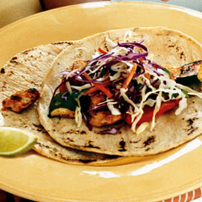 Spice-Rubbed Chicken and Vegetable Tacos with Cilantro Slaw and Chipotle Cream