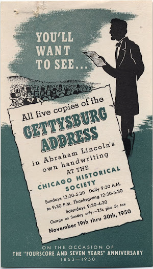 Chicago Historical Society. Admission Voucher for the…exhibition of five manuscript copies of the Gettysburg Address. 1950.