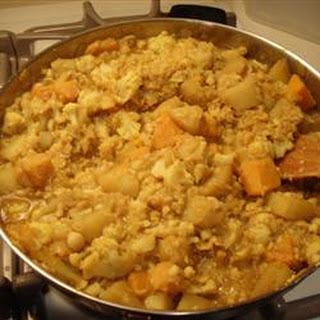 Curried Squash, Garbanzo Bean, and Potato Stew