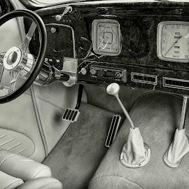 Custom Interior 1 by Jim Downey - Transportation Automobiles ( style, black & white, customized, hot rod, burl dash )