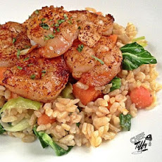 Chili-Dusted Garlic Shrimp over Veggie Fried Rice