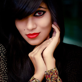 Vampire Lady by Sharier Shuvho - People Portraits of Women ( beautiful vampire, red, red lipstic, lady potrait, lipstick, red eye, vamp )