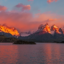 Sunrise Cuernos del Paine by Jay Gould - Landscapes Sunsets & Sunrises ( 2009, mountains, argentina-torres del paine, red clouds, reflections, lake, sunrise )