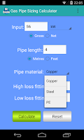 Screenshot of Gas Pipe Sizing Calculator