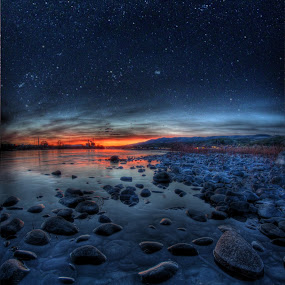 Rock Stars by Eric Demattos - Landscapes Waterscapes ( orange, stream, stars, sunset, rocks )