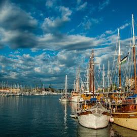 Trogir, Croatia by Rino Filipovic Grcic - Landscapes Cloud Formations ( clouds, croatia, trogir, sea, ships, hrvatska )