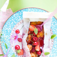 Summer fruit papillotes with lavender ice cream