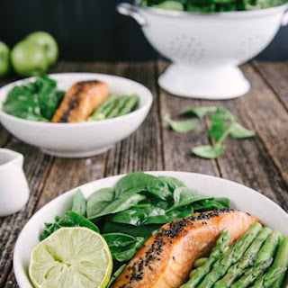 Soy Bean and Asparagus Salad with Honey-Ginger Salmon