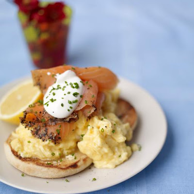 Scrambled Egg Muffins With Smoked Salmon & Soured Cream