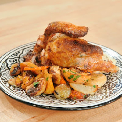 Roast Chicken with Preserved Lemons and Root Vegetables