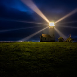 Cape Blanco Light by Mark Franks - Buildings & Architecture Public & Historical ( cape blanco, oregon, lighthouse, night, light )