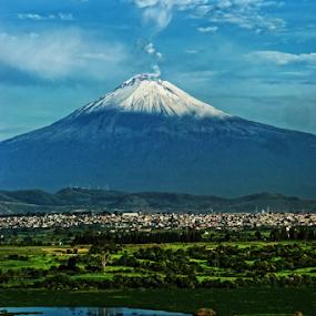 Popocatepetl smoking by Cristobal Garciaferro Rubio - City,  Street & Park  Vistas ( reflection, lagoon, volcano, reflections, lake, smoking volcano, snowy volcano )