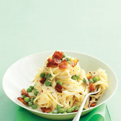 Fresh Angel-Hair Pasta with Bacon and Peas