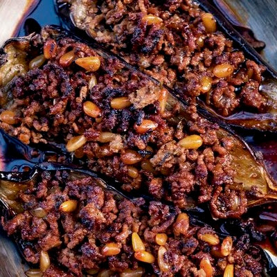 Stuffed Eggplant with Lamb and Pine Nuts from 'Jerusalem'