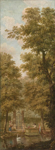 RIJKS: attributed to Jurriaan Andriessen: Three wall hangings with a Dutch landscape 1776