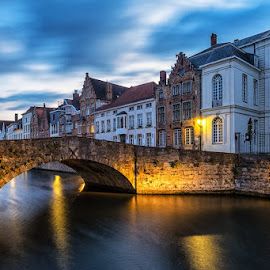 Canals at Bruges by CK Lam - City,  Street & Park  Historic Districts ( europe, blue hour, bruges, spinolarei, stone bridge, belgium, canal, spiegelrei )