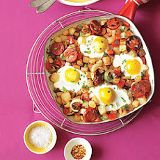 Potato, Pepper and Chorizo Hash with Fried Eggs