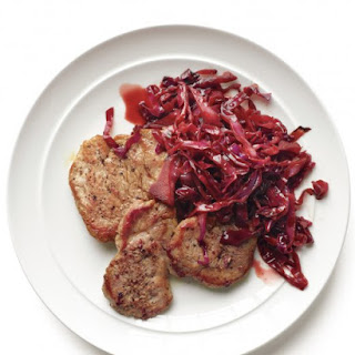 Pork with Pomegranate-Braised Cabbage