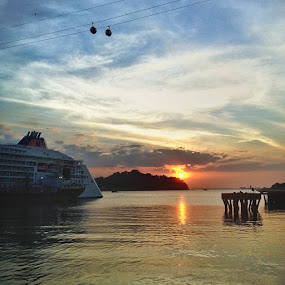 Sunset next to cruise ship. Harbour front, Singapore. by Aleksey Maksimov - Instagram & Mobile Instagram (  )