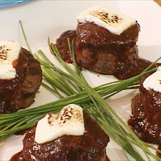 Black Pepper Crusted Filet Mignon with Toasted Goat Cheese and Twice Cooked Red Chile Sauce