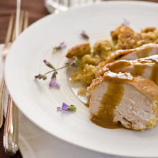 Roasted Turkey Breast with Corn Bread-Sage Stuffing and Brandy Gravy