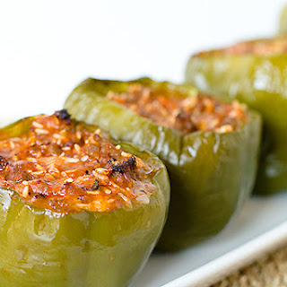 Sausage, Mozzarella & Basil Stuffed Peppers