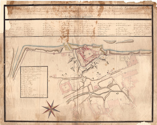 Ludwig Felix De Gloss  <b>Surat, Gujarat</b> circa 1760 Manuscript, pen and ink with wash on paper, 52 x 64 cm.  The master plan for renovating Surat Castle, made shortly after the East India Company assumed control of the fortress in 1759 – marking the first step towards the creation of the British Raj.   This finely drafted manuscript represents the authoritative military engineer's plan of Surat Castle, drafted shortly after the British East India Company (EIC) assumed control of the fortress in 1759. The takeover of the Castle was a milestone in the political history of India, as it represented the first time that an official British entity had formally assumed sovereignty over Indian territory (as opposed to leasing land from Indian rulers), marking the first step towards the formation of the British Raj.   Surat Castle, a monumental 16th Century stone edifice, sat on the banks of the Tapti River in the heart of the city, and was impressively built with walls 40 feet high and 13 feet thick, with the masonry bound together by iron strips and molten lead. However, when the EIC assumed control of the Castle, they found the medieval fortress in a state of disrepair.   They charged Ludwig Felix de Gloss, a highly competent German military engineer in the service of the Anglo-Indian army, with restoring and retrofitting the Castle. De Gloss' extensive improvements and new constructions are carefully detailed on the plan.