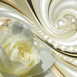 ROSE PEARLS by Carmen Velcic - Digital Art Abstract ( abstract, pearls, roses, white, flowers, digital )