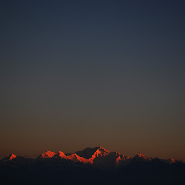 FLAMES ON KANCHENJUNGA by Simantini Hazra - Landscapes Mountains & Hills ( hills, flames, snow, morning, fire, rays )
