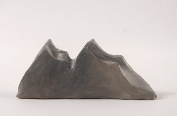 Mountain <br> Stoneware, low fired with acrylic paint<br> 3.5 x 8 x 1.5 in