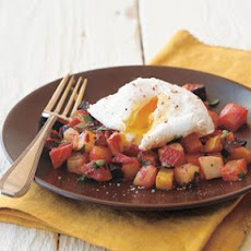 Root-Vegetable Hash Topped with Poached Eggs