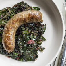 Sausage With Chard and Rhubarb