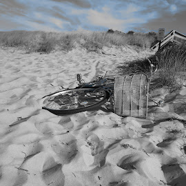 Biker Blues by Tanya Washburn - Transportation Bicycles ( sand, sky, blue, beach, bicycle )