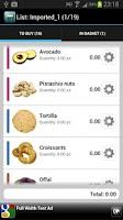 Screenshot of Iconic Shopping List