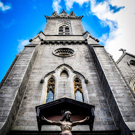 St Marys Cathedral by Ian Jukes - Buildings & Architecture Statues & Monuments ( scotland, jesus, st mary, kirk, cathedral, aberdeen, cross )