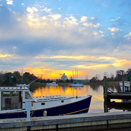 Georgetown Sunset by Jim Antonicello - Landscapes Sunsets & Sunrises ( georgetown, water, boats, marina, south carolina )