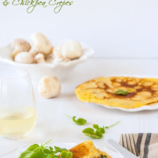 Socca (chickpea Flour) Crepes With Creamy Mushroom Filling