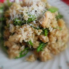 Oven Baked Chicken and Tender Stem Broccoli Risotto