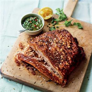 Slow-roast Fennel And Coriander Pork Belly With Chilli-spiked Salsa Verde