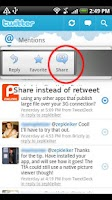 Screenshot of ReTweet (Twitter helper app)