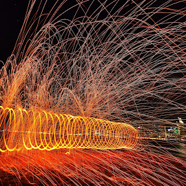 Glorietta Park Spin by Anthony Drake - City,  Street & Park  City Parks ( san diego, light painting, spinning, night photography, night lights, california, parks, steelwool, cityscape, city park, city )