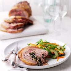 Roast Boneless Shoulder of Lamb with Watercress, Goat's Cheese and Mint Stuffing