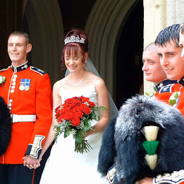 Guard of honour by John Davies - People Group/Corporate ( happy couple, wedding, welsh guards, bride & groom, guard of honour )