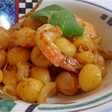 Creamy Saffron Shrimp with Gnocchi and Caramelized Onion