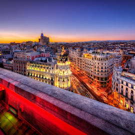 Madrid, Spain at Sunset by Gen Vagula - City,  Street & Park  Historic Districts ( hdr, sunset, madrid, travel, spain )
