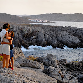 Menorca rocks by Joan Vega - People Family ( cliff, daughter, sea, dusk, x-pro1, coast, menorca, mother, family, sunset, outdoor, day, mother's day, fornells )