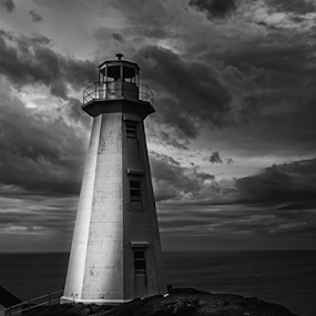 Something Wicked by Nigel Bullers - Black & White Landscapes ( clouds, sky, bw, lighthouse, storm, wicked )