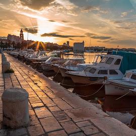 Split Sunrise by Stephen Bridger - Transportation Boats ( marine, europe, harbor, harbour, boats, croatia, split, travel, sunrise, travel photography )