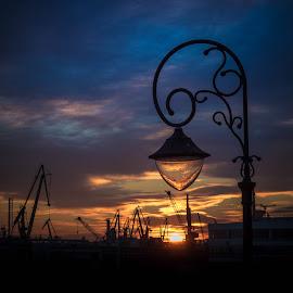 The last light over the harbour by Adrian Ioan Ciulea - Buildings & Architecture Other Exteriors ( street light, harbor, cranes, sunset, street lamp, light, sun )