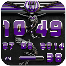 dragon digital clock purple